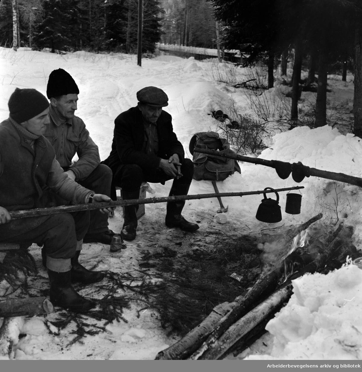 Østmarka: Løypa går ved Rustadsaga over Nøklevannsledningen, som tre menn nå slår en 16 meter bru over. Januar 1959