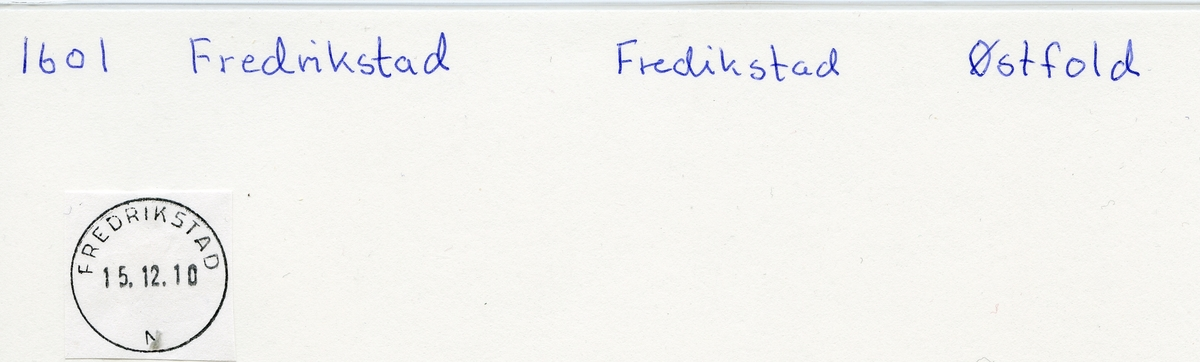 Stempelkatalog 1600 Fredrikstad postkontor. Fredrikstad kommune. Østfold fylke.