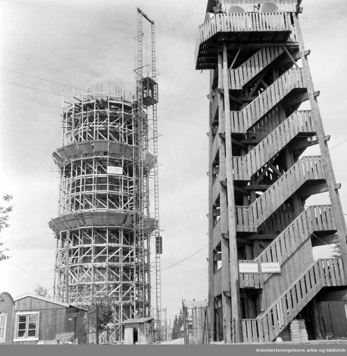 Nordmarka: Det nye Tryvannstårnet under bygging. Juni 1960
