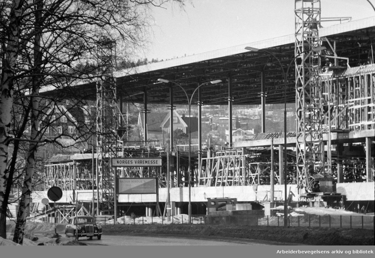 Norges Varemesse, Sjølyst under byggeprosessen. Februar 1961