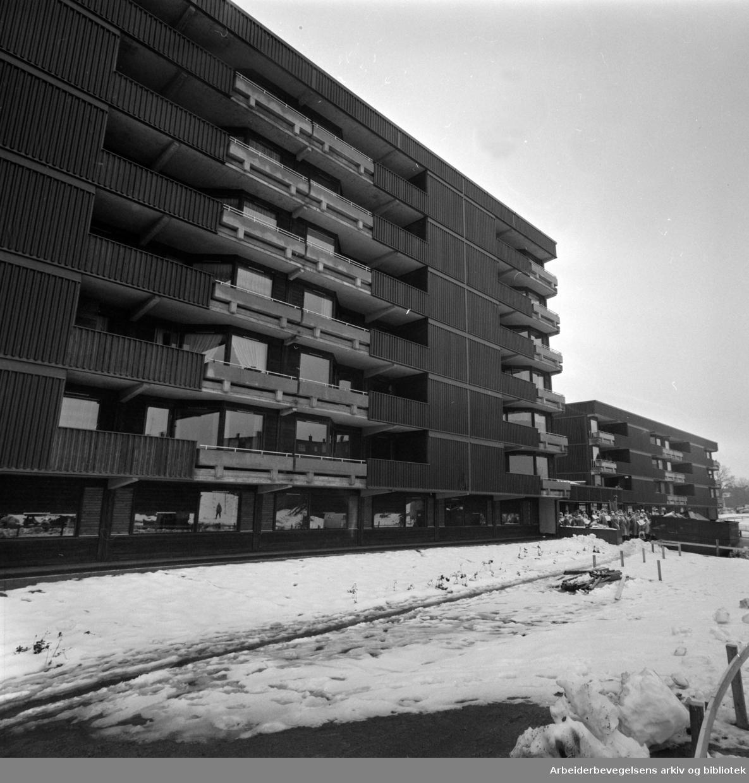 Manglerud Nevrohjem. I første etasje i dette boligbygget holder Manglerud Nevrohjem til. Oktober 1976