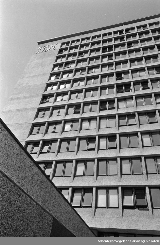 Norsk Hydros nye administrasjonsbygning i Bygdøy Allé..Eksteriør. Juli 1968