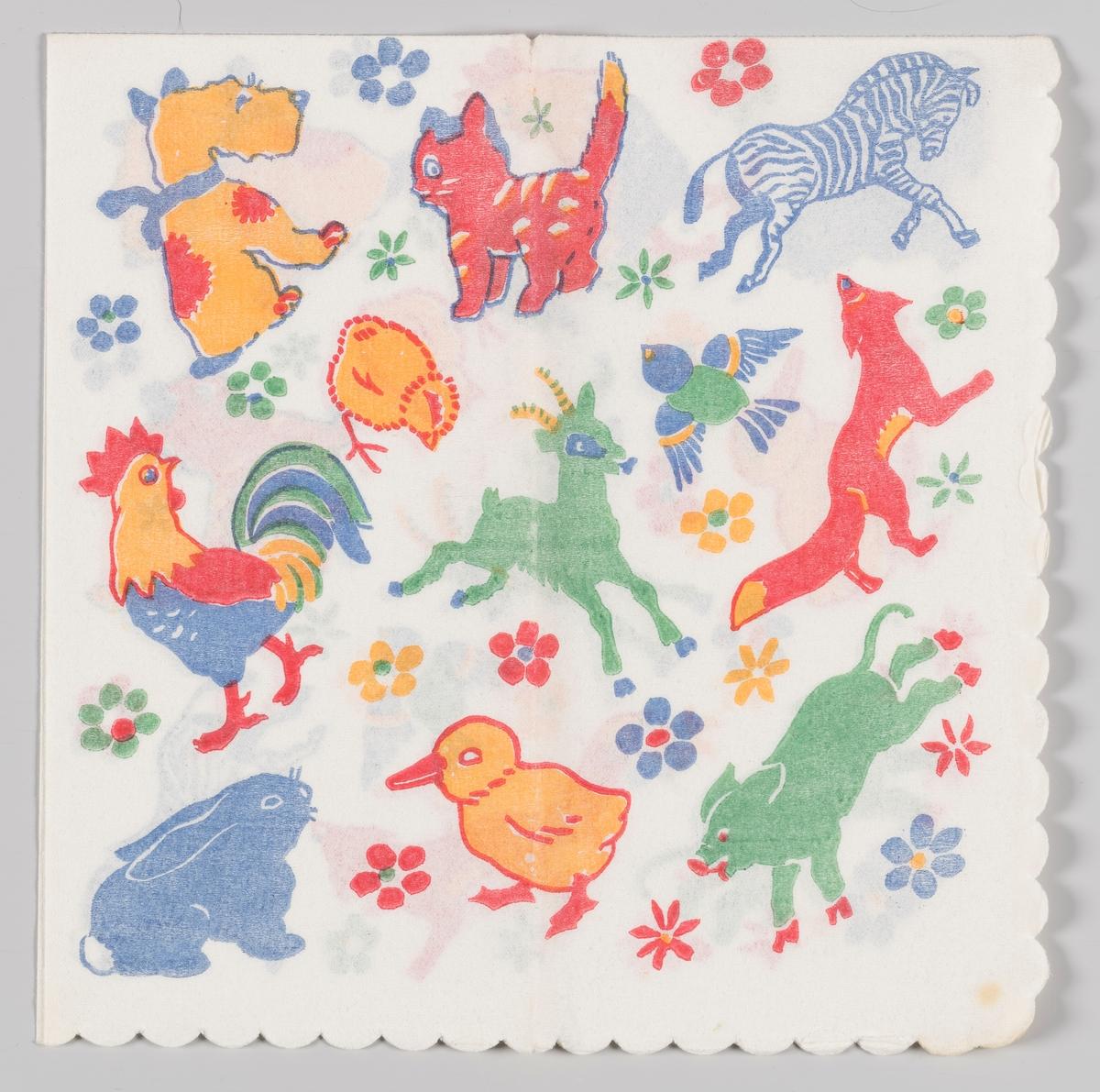 Forskjellige dyr mellom blomster: hund, katt, sebra, kylling, hane, fugl, geit, rev, hare, and og gris.