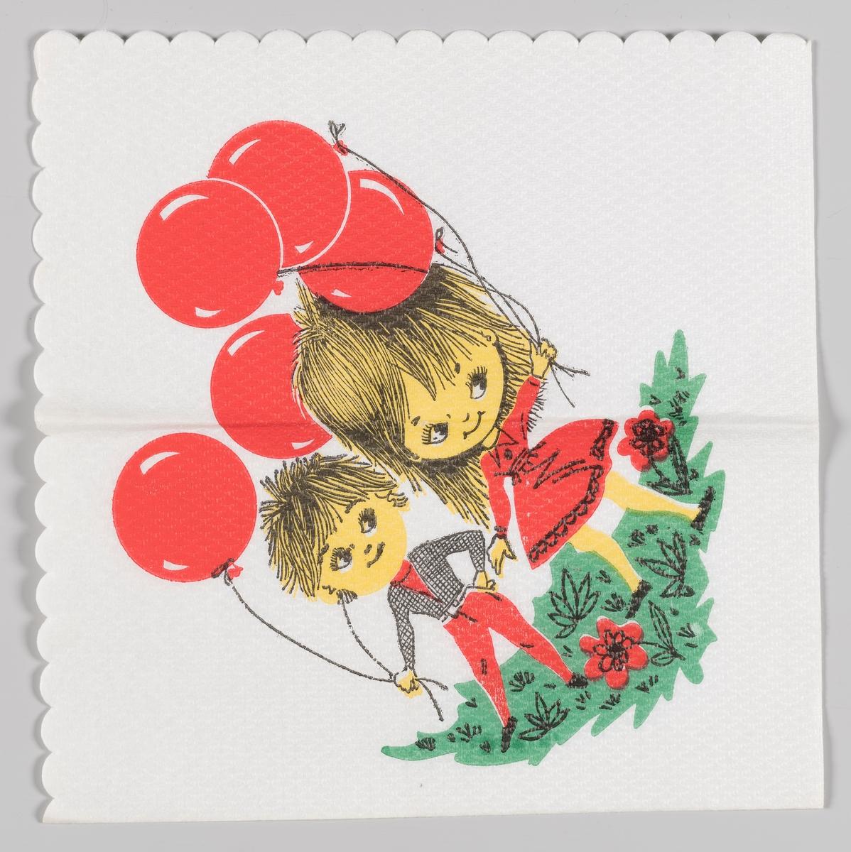 To barn stå rmed røde ballonger i en blomstereng.