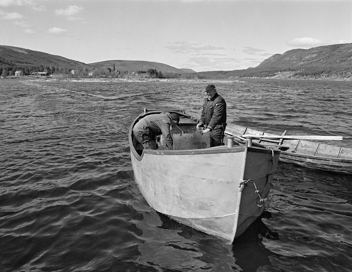 Sleping av tømmer i ringbom på Lomnessjøen i Ytre Rendalen i Hedmark våren 1984.  I forgrunnen ser vi varpebåten av stål, som ble brukt i dette arbeidet.  Karene om bord var Ola Stubsveen (1924-1998) til venstre og Harald Hansen (1926-1999).  Hansen sto ved rattet, mens Stubsveen sto bøyd over motoren.  Fra en vinsjtrommel i båten gikk det ei slepeline, en vaier som var forankret i en ring av sammenkjedete tømmerstokker som omsluttet en del løstømmer.  Tømmeret ble slept på denne måten fra Hornsetlensa i nordenden av innsjøen til utløpet ved Kvernnesodden, ei snau mil lengre sør.  Til høyre for varpebåten lå det en robåt av tre, sannsynligvis fra Glomma fellesfløtingsforenings båtbyggeri på Flisa i Solør.  I bakgrunnen på dette bildet, over tømmerbommen, skimter vi spiret på Ytre Rendal kirke på Otnes.  1984 var den siste sesongen med tømmerfløting i denne delen av Glommavassdraget.