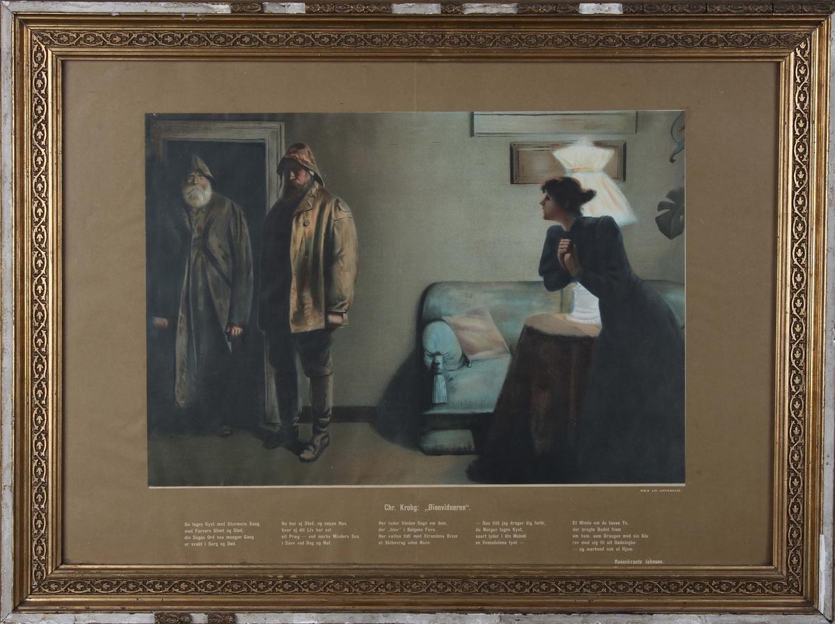 """Kopi av trykk """"Øienvidnerne"""" signert Chr. Krogh. Ser to fiskere som kommer med dødsbudskap til en fiskerkone."""