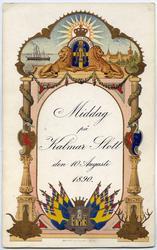 Inbjudningskort, musikprogram och bordsplacering vid kungami