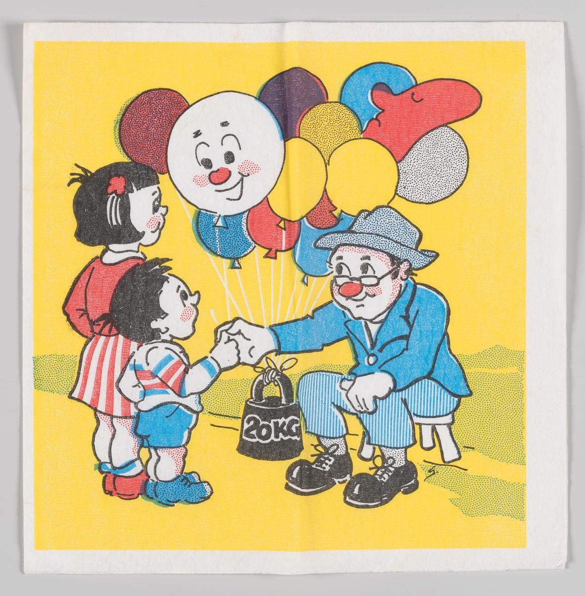 En jente og en gutt får en ballong med et smilend ansikt av en mann som har et bunt med ballonger som er festet til en vekt på 20 kg