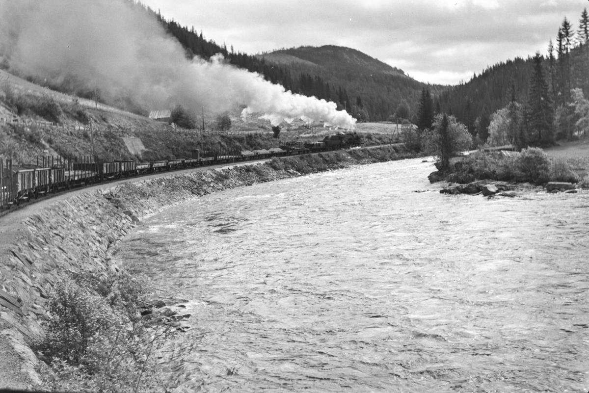 """Underveisgodstog fra Trondheim til Hamar, tog 5712 i den såkalte """"Krokkurven"""" mellom Langlete og Reitstøa stasjoner. Toget trekkes av damplokomotiv type 63a nr. 5860."""