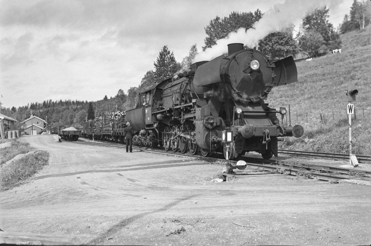 Underveisgodstoget fra Trondheim til Hamar over Røros, tog 5712, på Haltdalen stasjon. Lokomotivpersonalet konfererer med togekspeditøren. Toget trekkes av damplokomotiv type 63a nr. 5860.
