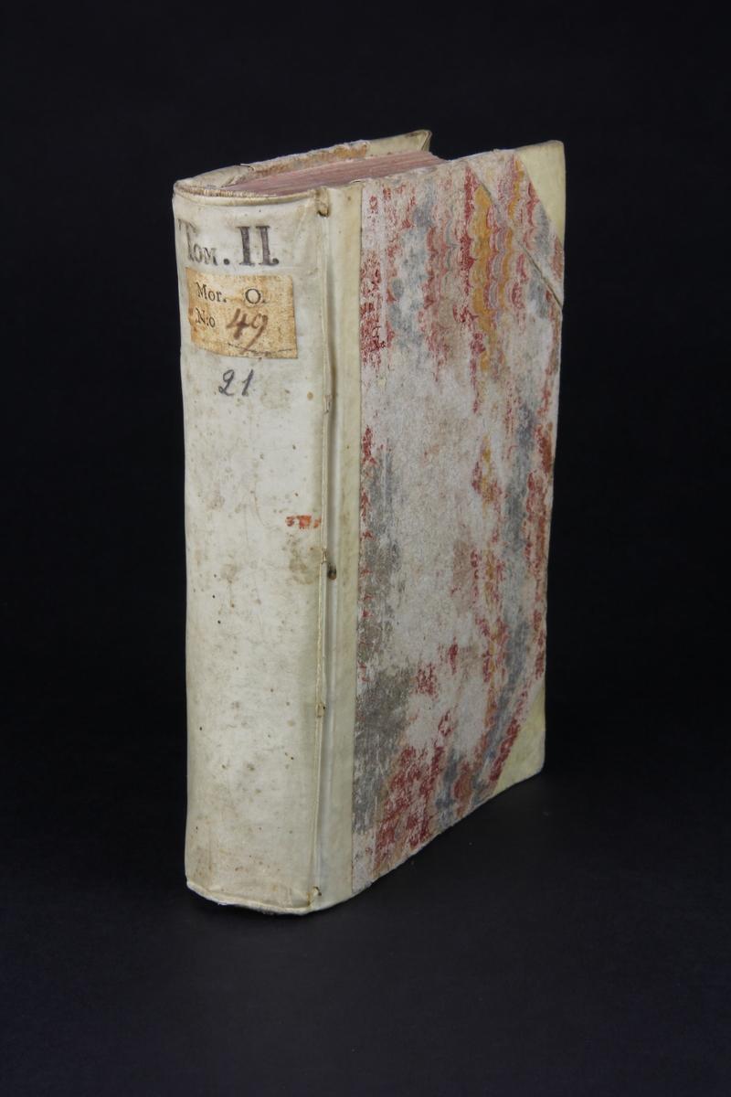 """Bok, halvpergamentband """"Principes de l´histoire pour  l´education de la jeunesse"""", del 2, tryckt 1737 i Amsterdam. Pärmar klädda med marmorerat papper, rygg och hörn av pergament. Rödstänkt skuret snitt."""