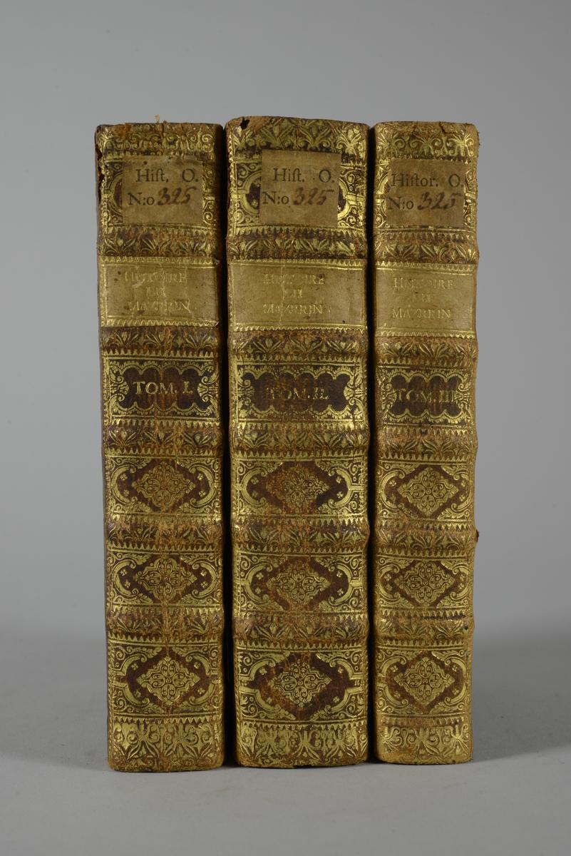 """Bokverk i tre halvfranska band,""""L´histoire du cardinal Mazarin"""", tryckt i Amsterdam 1718."""