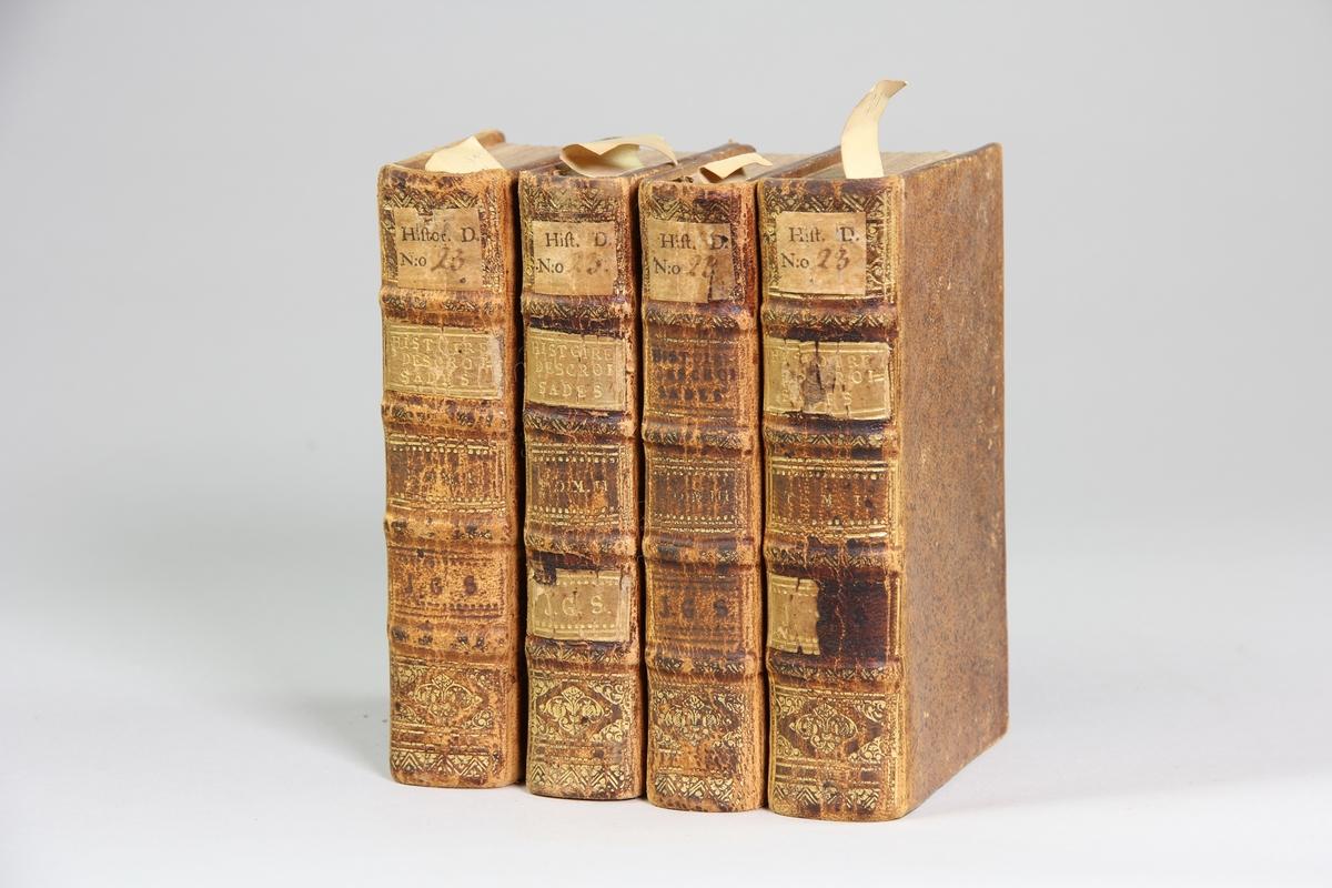 "Bokverk, skinnband, ""Histoire des croisades pour la delivrance de la terre sainte"", del I-IV, skrivet av Louis Maimbourg, utgivet i Paris hos Sebastien Mabre-Cramoisy 1731."