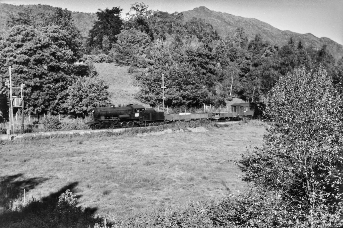 Godstog retning Voss, tog 5500, på ved Fjøsanger. Toget trekkes av damplokomotiv type 33a nr. 300.