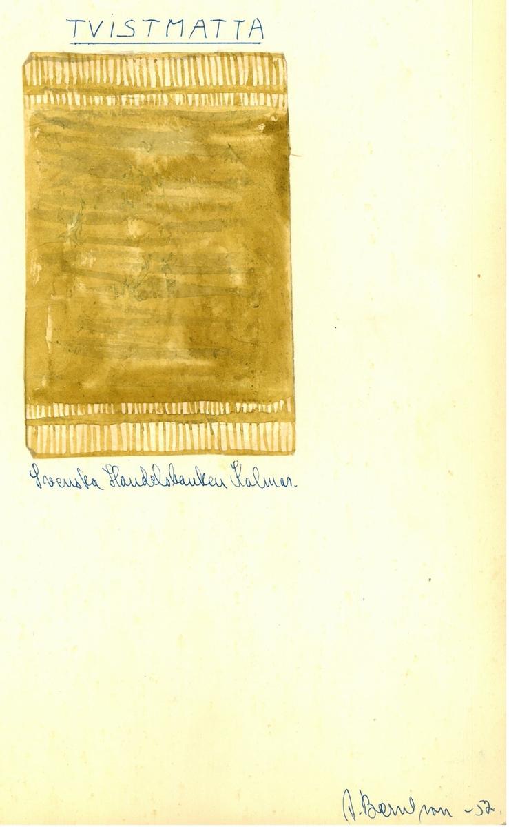 """Skisser till skyttlade mattor. Formgivare: Agnes Berntson 1952 """"Tvistmatta Svenska Handelsbanken Kalmar"""""""