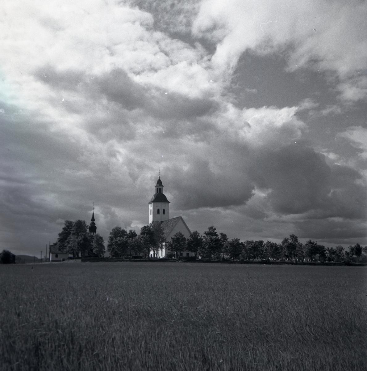 Hälsingtuna kyrka bakom ängar och träd.