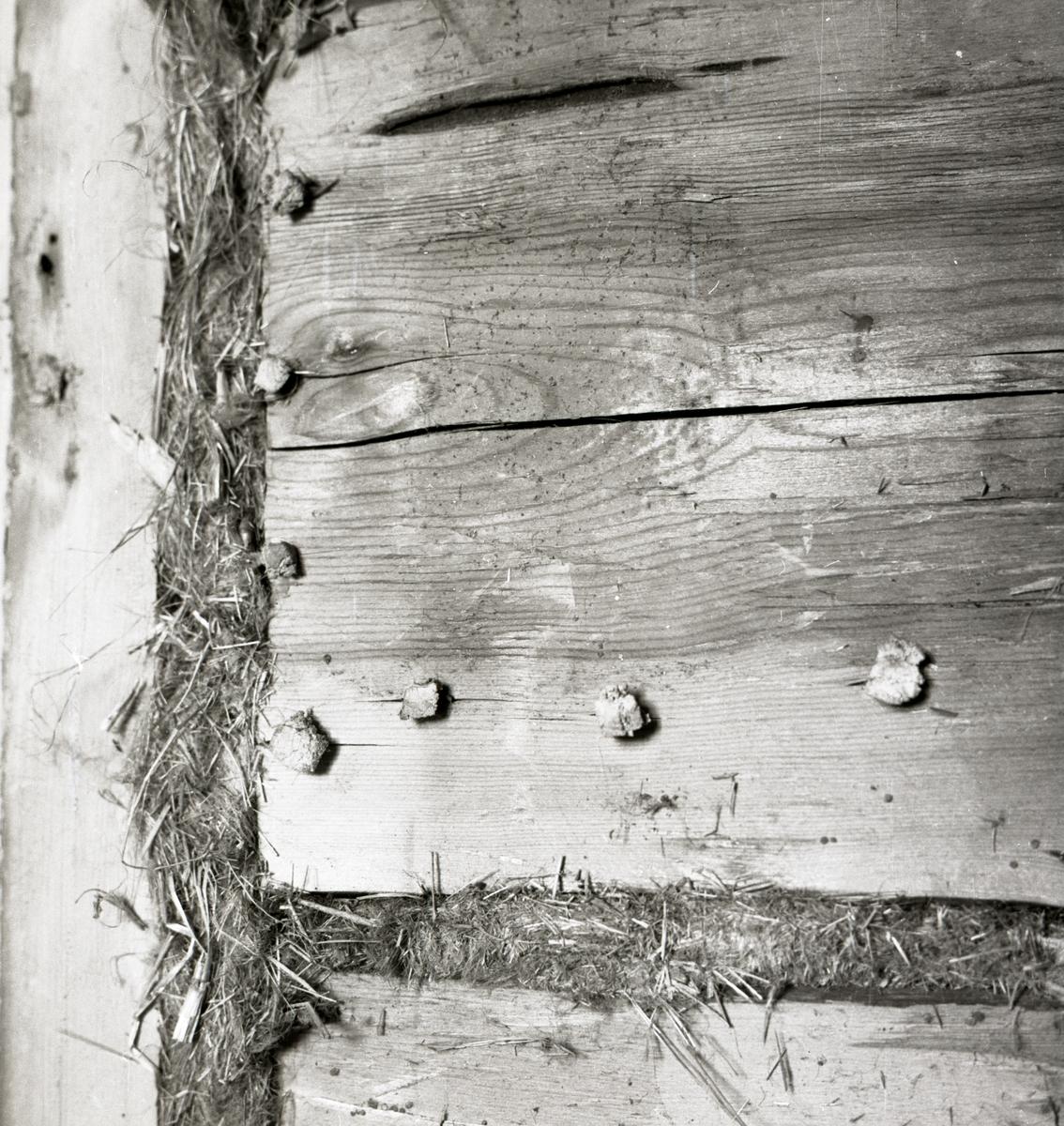 En timmervägg med träpluggar och gräsisolering i Rengsjö, 1967.