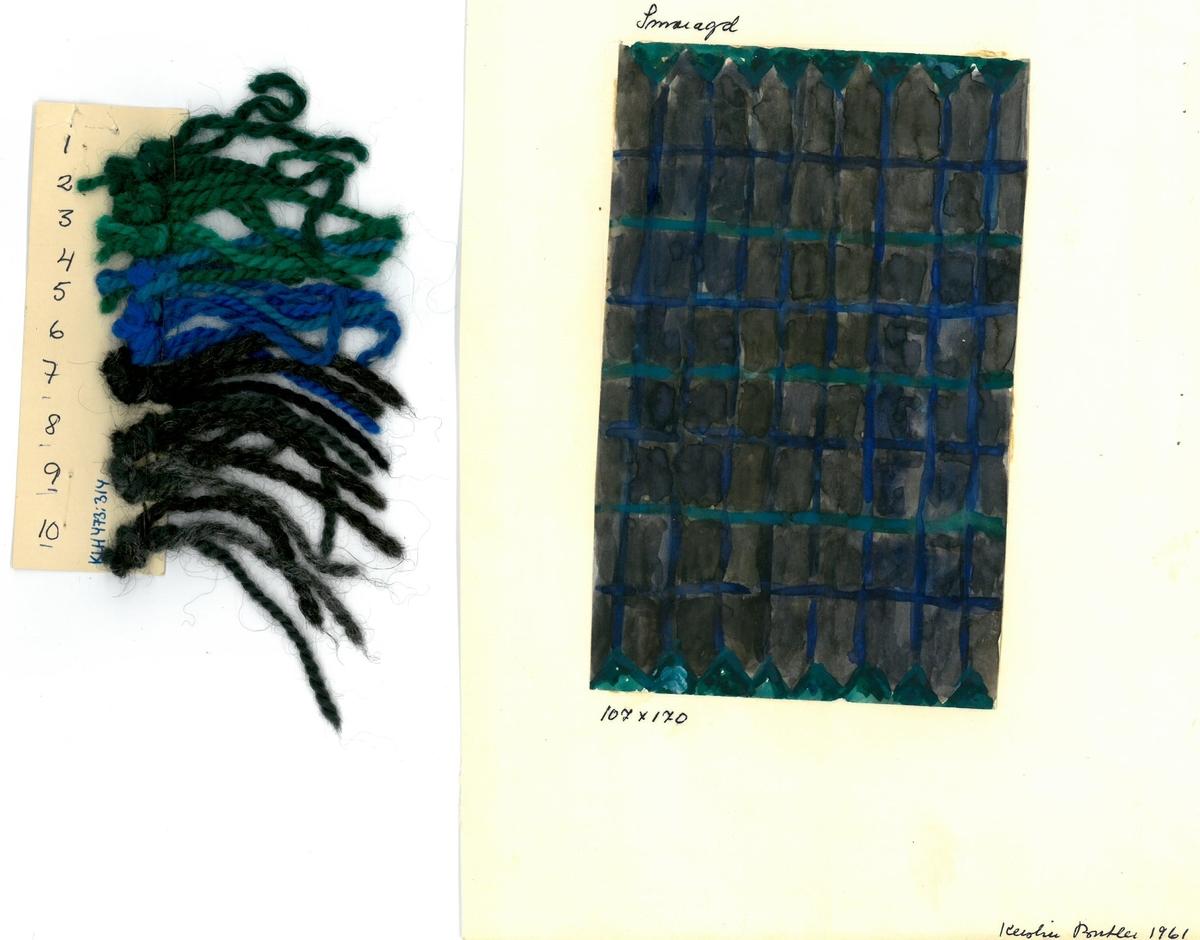 Skiss och garnblandning till flossa- och ryamatta Smaragd Formgivning: Kerstin Butler 1961