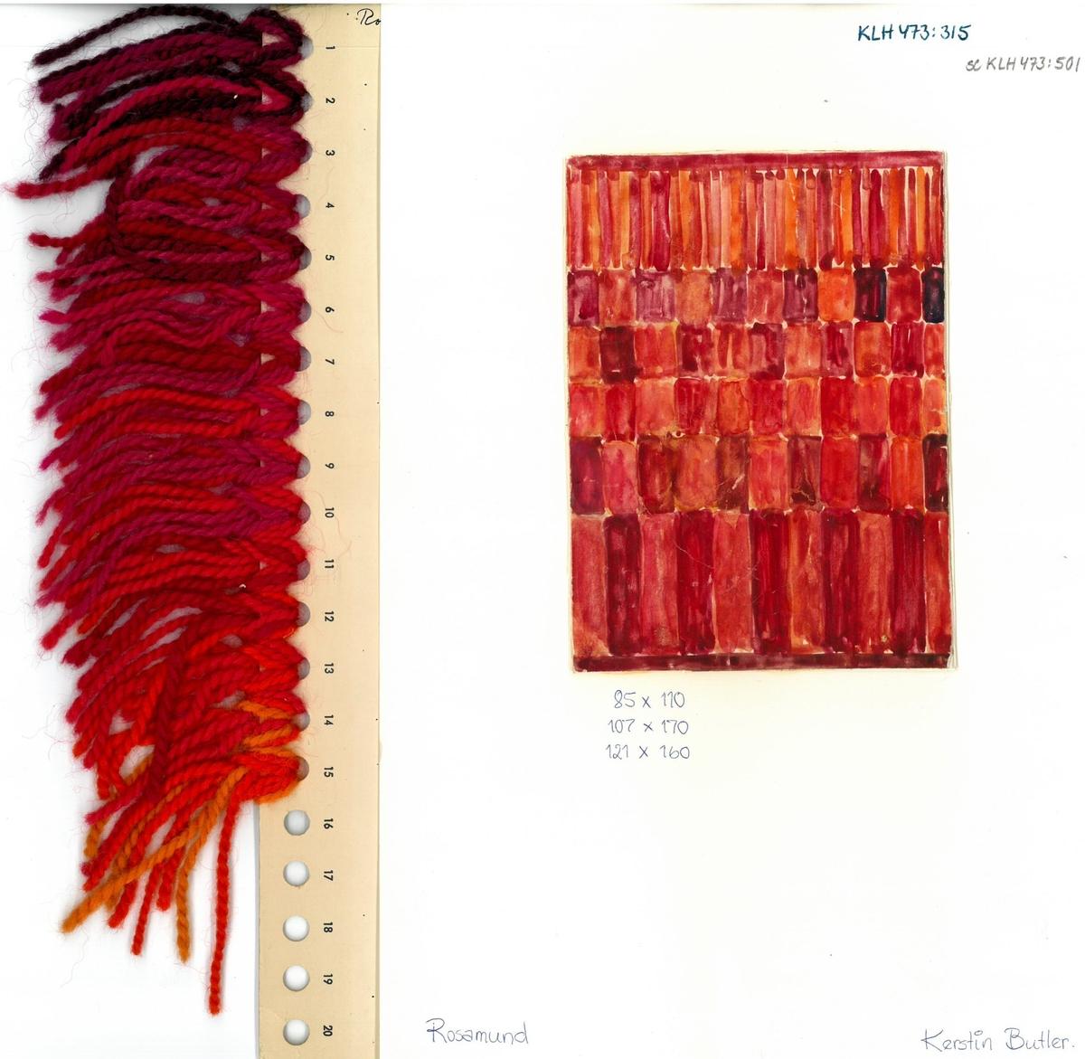 Skiss och garnblandning till flossa- och ryamatta Rosamunda Formgivning: Kerstin Butler 1962