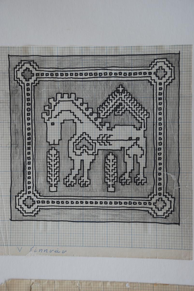 Skisser till finnvävar komponerade av Ann Mari Gunnarsson.  Bild nr 3 (nedre högra skissen) hör dock till ZJLHF-335:10, gjord av Kerstin Ekengren.
