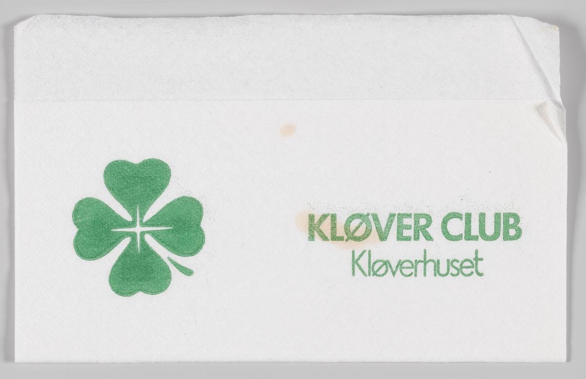 En firkløver og reklametekst for Kløverhuset.   Kløverhuset er et kjøpesenter i Bergen som ble etablert i 1852, dengang ble virksomheten kalt Mode og manufakturhandel. I 1923 ble virksomheten flyttet til dagens lokaler og fikk navnet Kløverhuset.