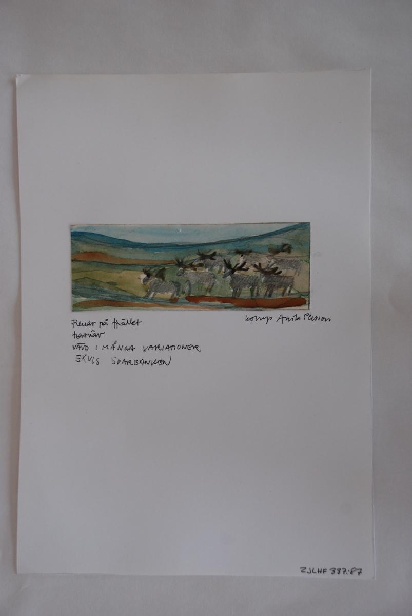 Skiss till trasväv komponerad av Anita Persson.