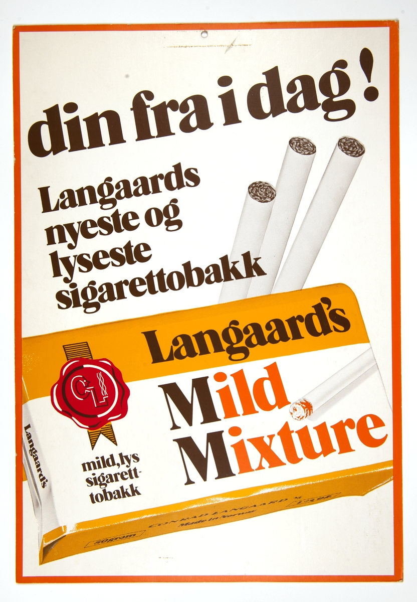 Reklameplakat for Langaards rulletobakk Mild Mixture