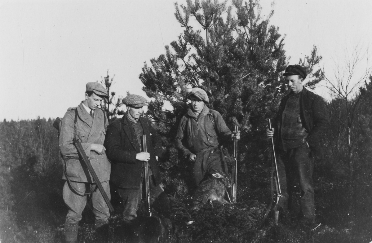 Fyra män med hagelgevär står framför en gran med jaktbyte i form av kanin eller hare. Jägare på Bergstena mosse, nummer tre från vänster är Markus Jansson.