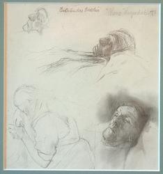 En arbeiders dødsleie [Tegning]