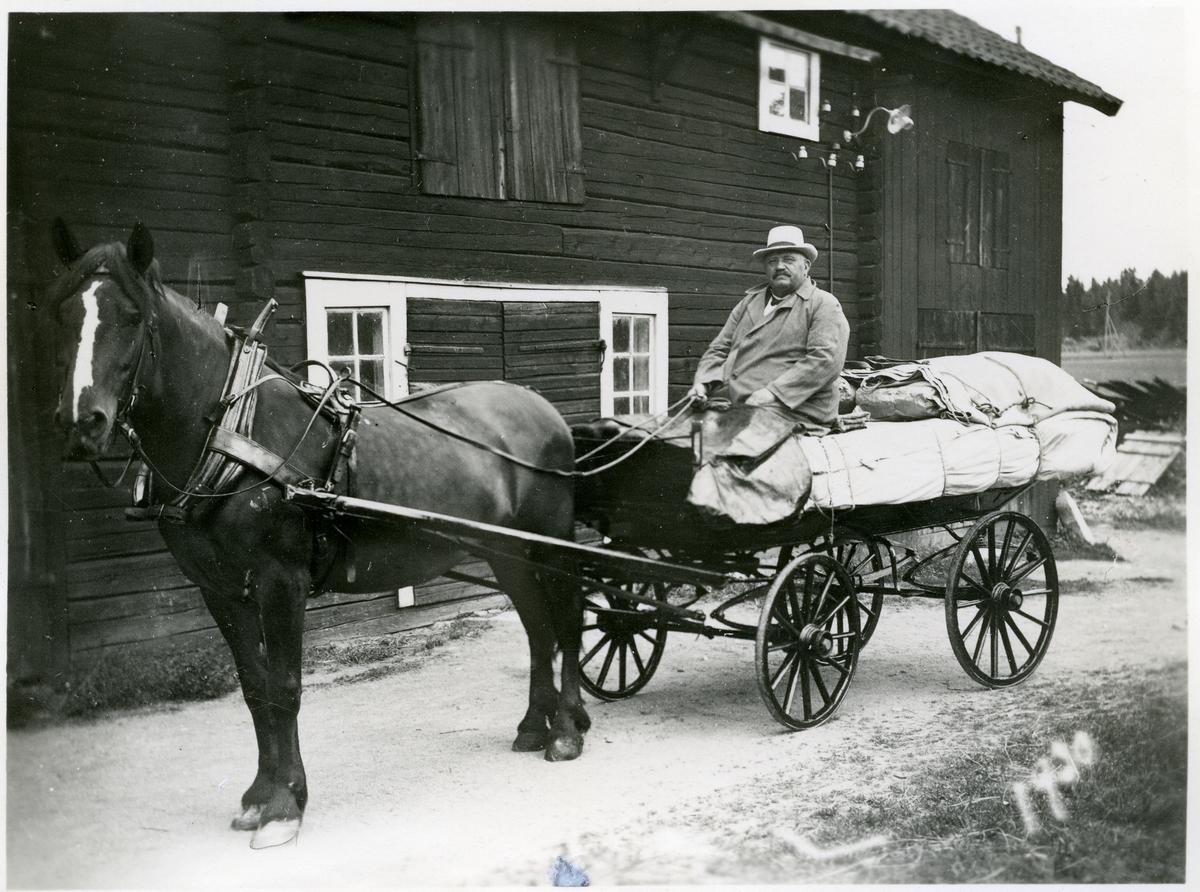Fläckebo sn, Väster Vrenninge.  Besök av den sista gårdfarihandlaren med häst, 1930.