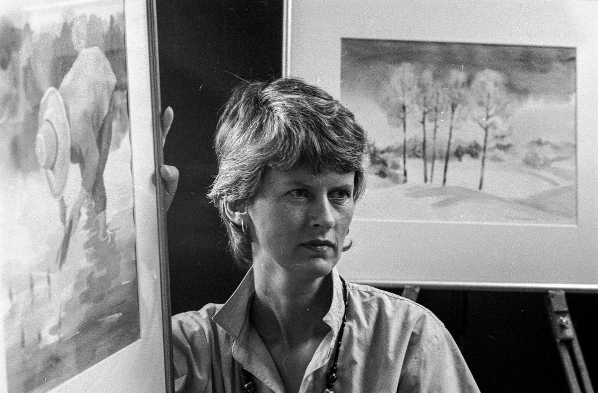 Torild Mindrebøe med akvarell-utstilling på Kolbotn Fotograf: ØB Bjerke Bente