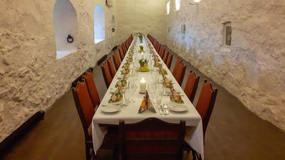Dekket bord på Kongsten Fort