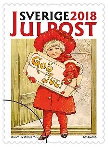 Frimärken i häfte med tio självhäftande frimärken med fem olika julmotiv. Valör Julpost.