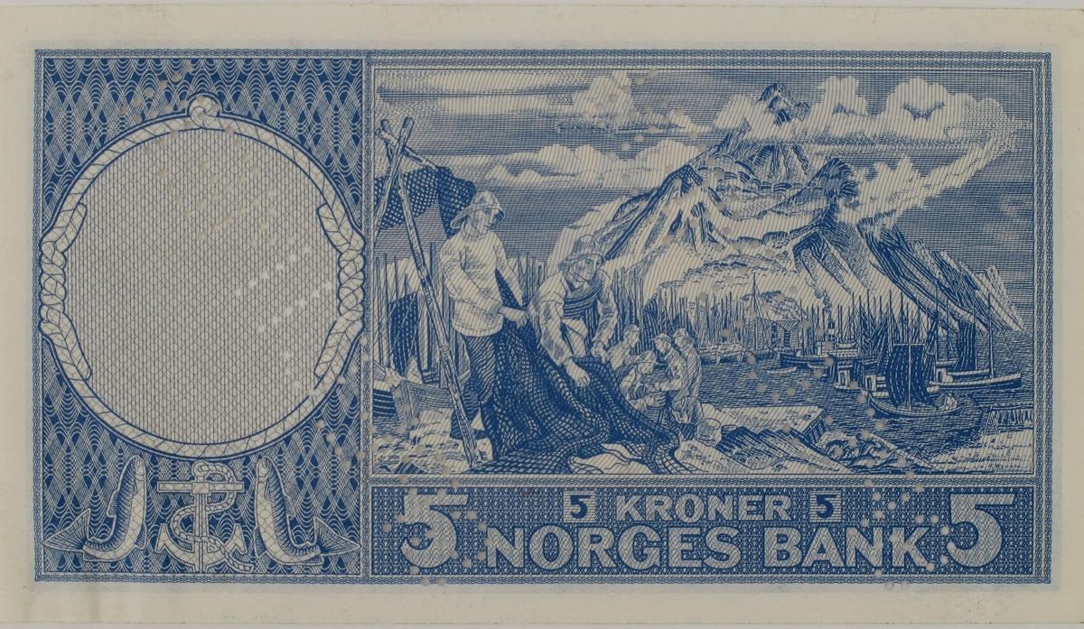 Motiv fra Lofotfisket, et fiskevær med høye lofotfjell i bakgrunnen, på den ene side, portrett av Fridtjof Nansen på den andre.