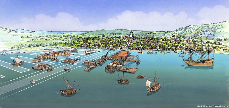 Illustrasjon av hvordan Oslos havn kan ha sett ut i 1624, basert på resultatene av arkeologiske utgravninger og historiske kilder. En rekke båter i ulik størrelse ses på vannet, enten fortøyd ved brygger eller ute på åpent vann. Lange rekker av brygger, hvorav noen har sjøboder eller andre bygg, stikker ut i vannet fra strandkanten nedenfor bybebyggelsen.