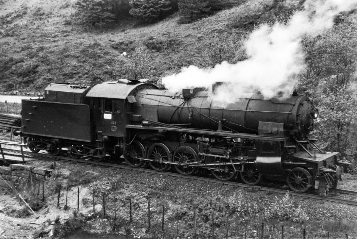 Damplokomotiv type 31b nr. 431 på Midttun holdeplass.
