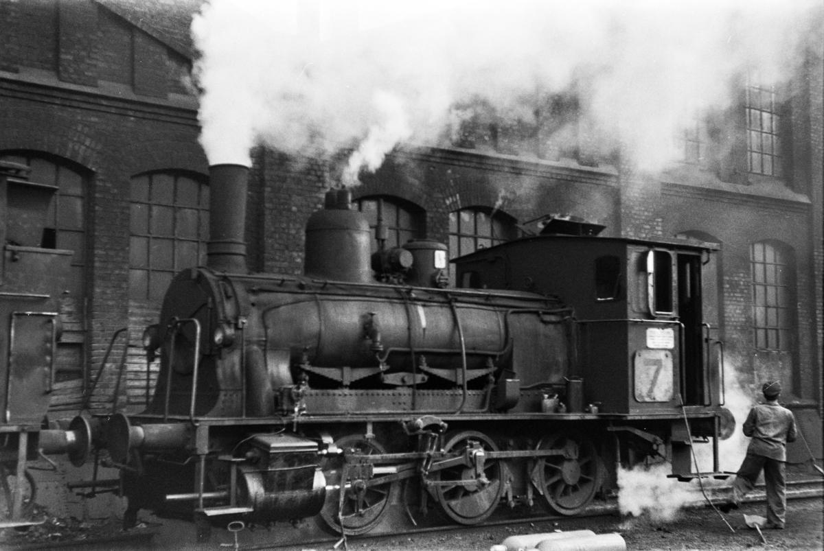 Damplokomotiv type 25e nr. 487 ved Gamlestallen i Lodalen i Oslo.