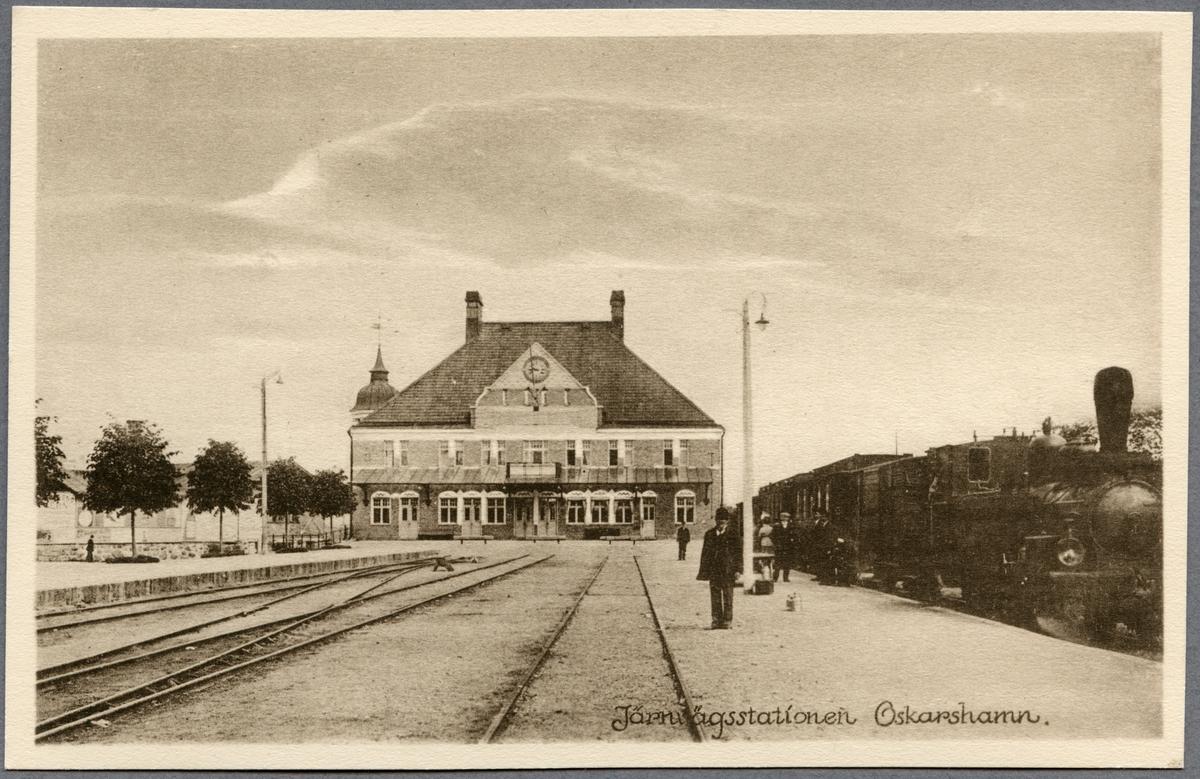 Ruda - Oskarshamns Järnväg, ROJ lok 1 vid järnvägsstationen i Oskarshamn.