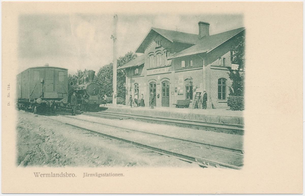Wermlandsbro station. Bergslagernas Järnväg, BJ. Banan öppnades 1879, elektrifiering 1940 och övergick till Statens Järnvägar, SJ 1948.