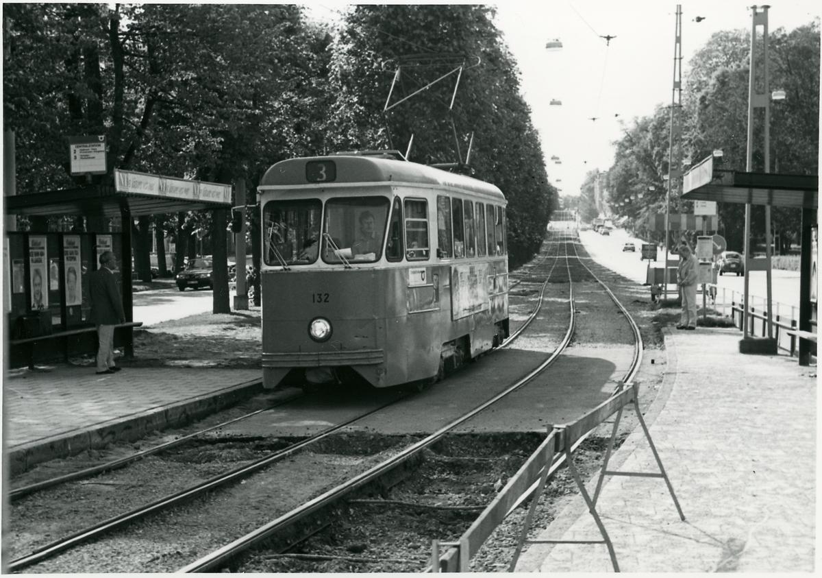 Spårvagn 132 Norrköping trafikerar linje 3.