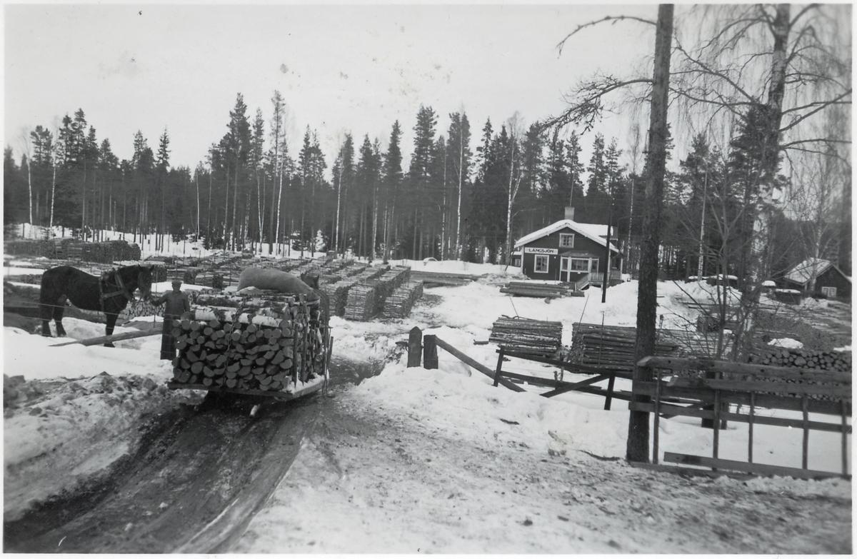 Vy över stationsområdet med timmerupplag och Skedvibonde med hästtransport.