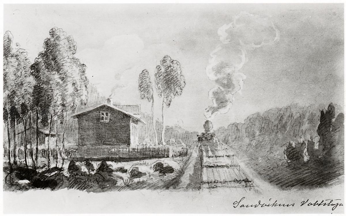 Skiss, utförd av byggnadschefen för Gävle-Dala Järnväg Claes Adelsköld, över Sandvikens Vaktstuga.