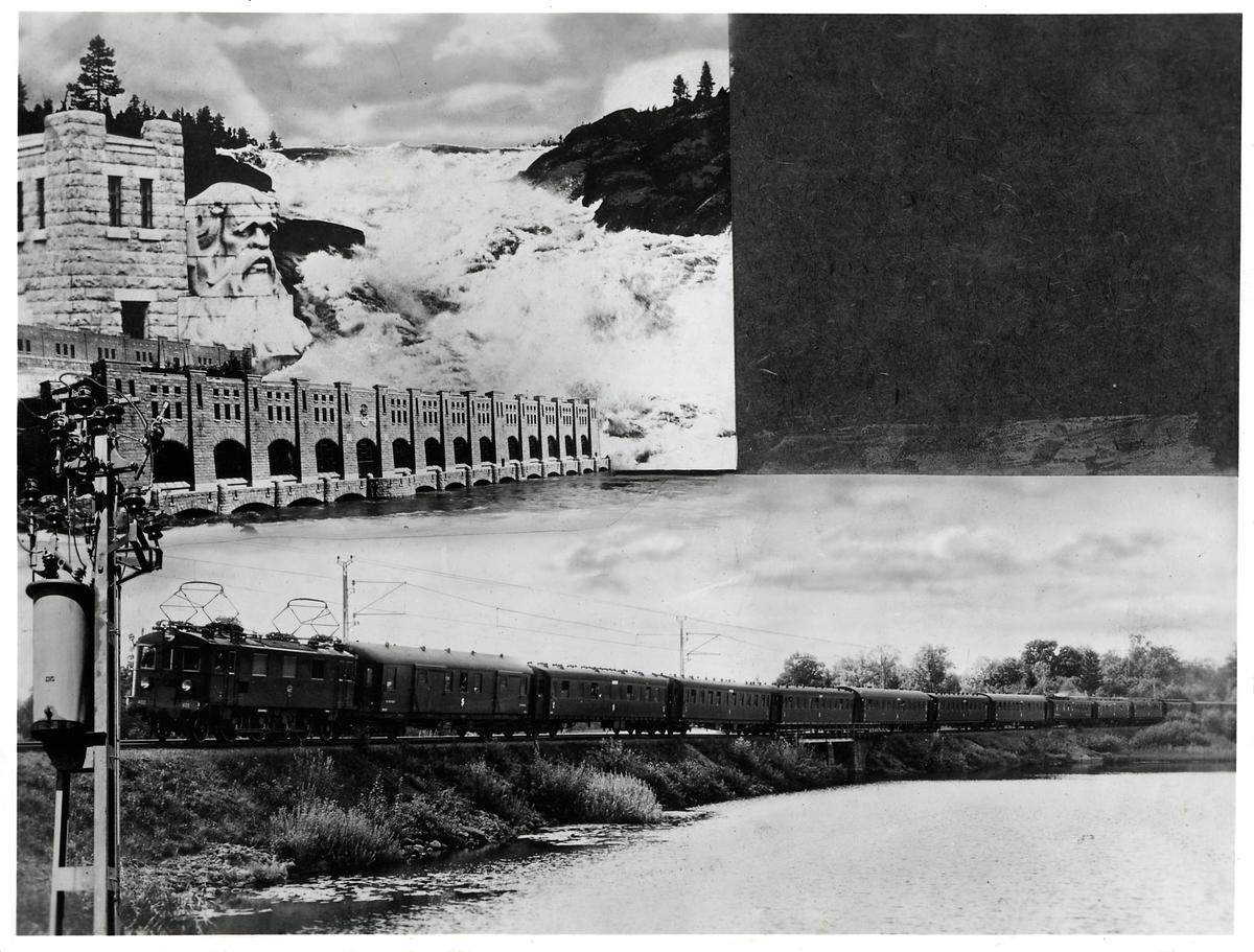 Bildmontage: Undre bilden visar, Statens Järnvägar, SJ D 402 på sträckan mellan Flen och Holbonäs.