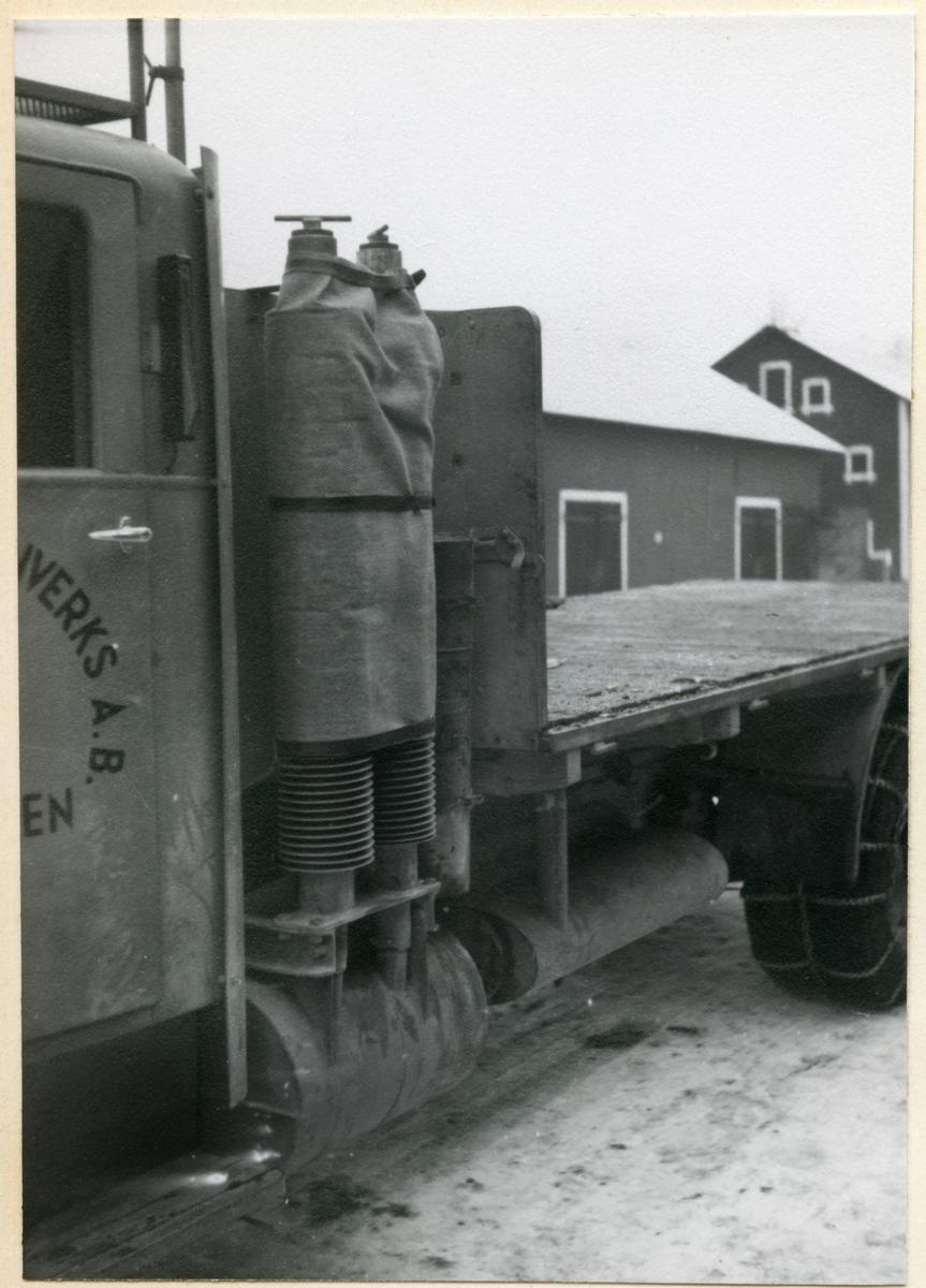 Lastbil med gengasaggregat.