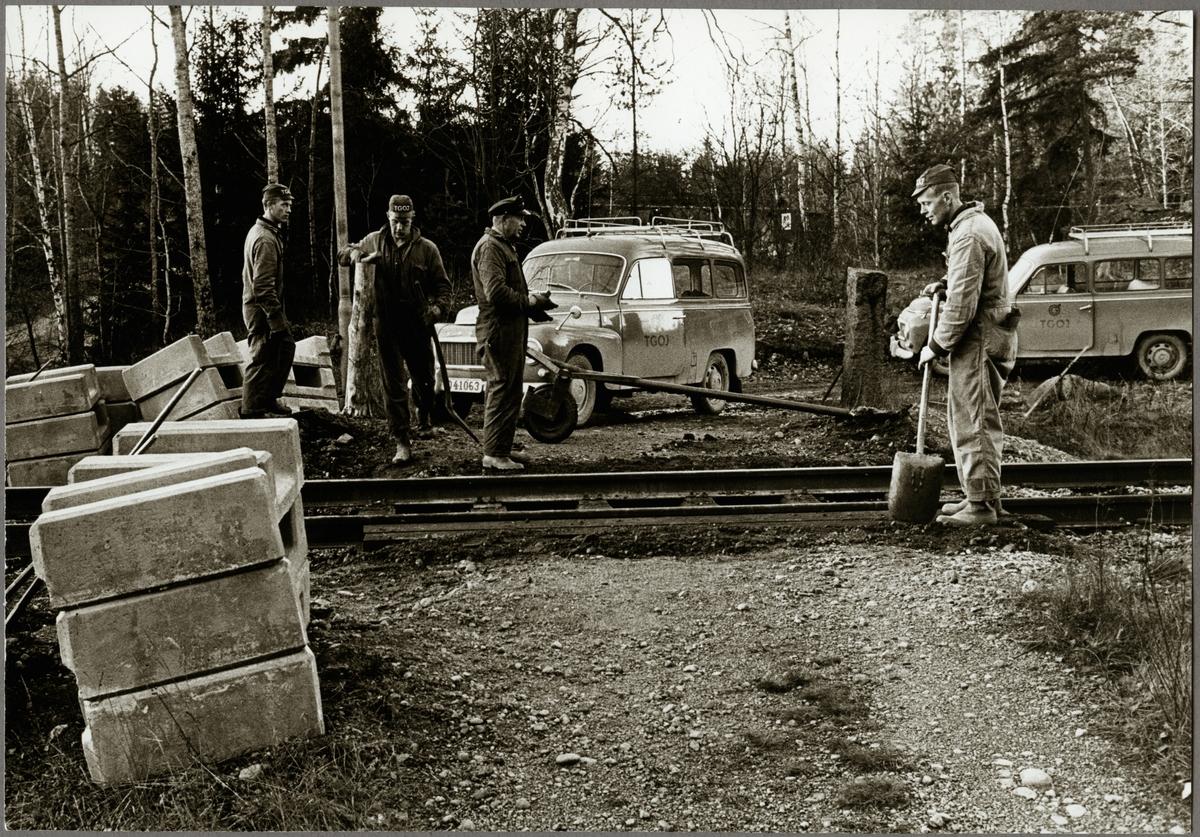 Underhållsarbete på sträckan mellan Harsjön och Bälgviken 1967.