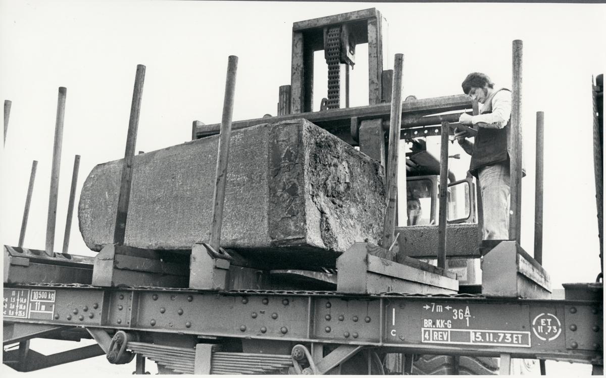 Gods från Nyby bruk lastas på en godsvagn tillhörande Trafikaktiebolaget Grängesberg–Oxelösunds Järnvägar. Lagerledare Sven Uhlin noterar individnumret.