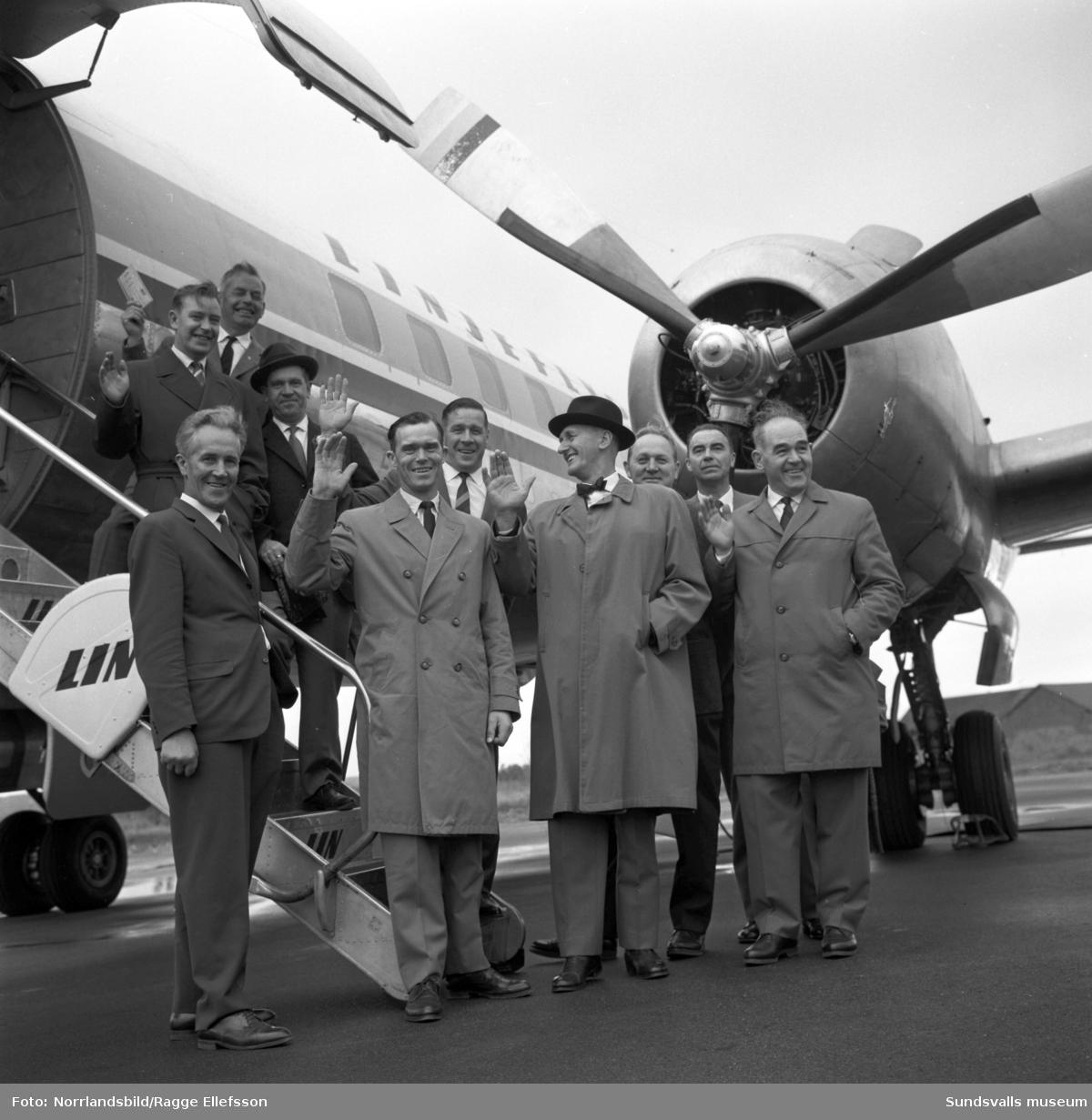 En grupp SCA-män inleder en USA-resa på Midlanda.