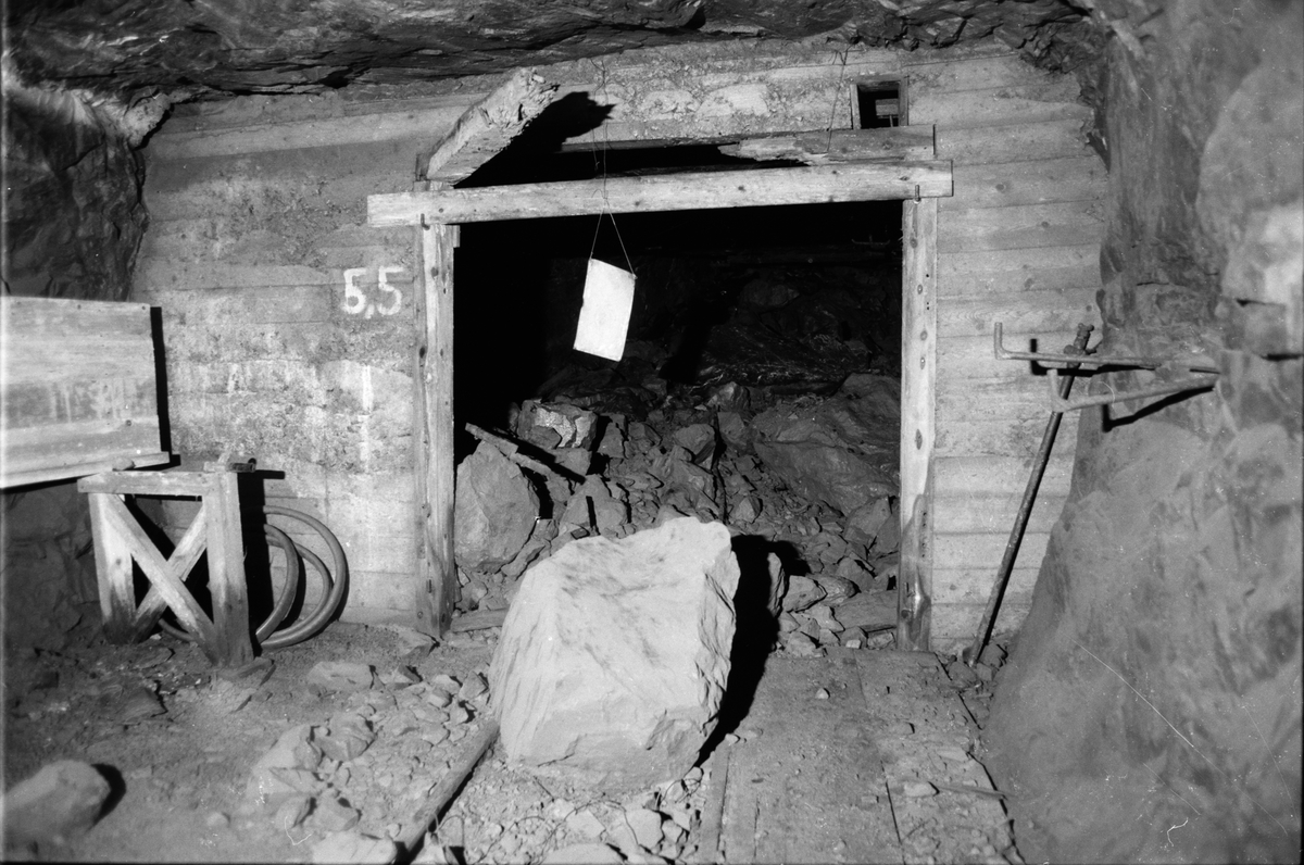Raserad gruvgång på 460-metersnivån, gruvan under jord, Dannemora Gruvor AB, Dannemora, Uppland oktober 1991