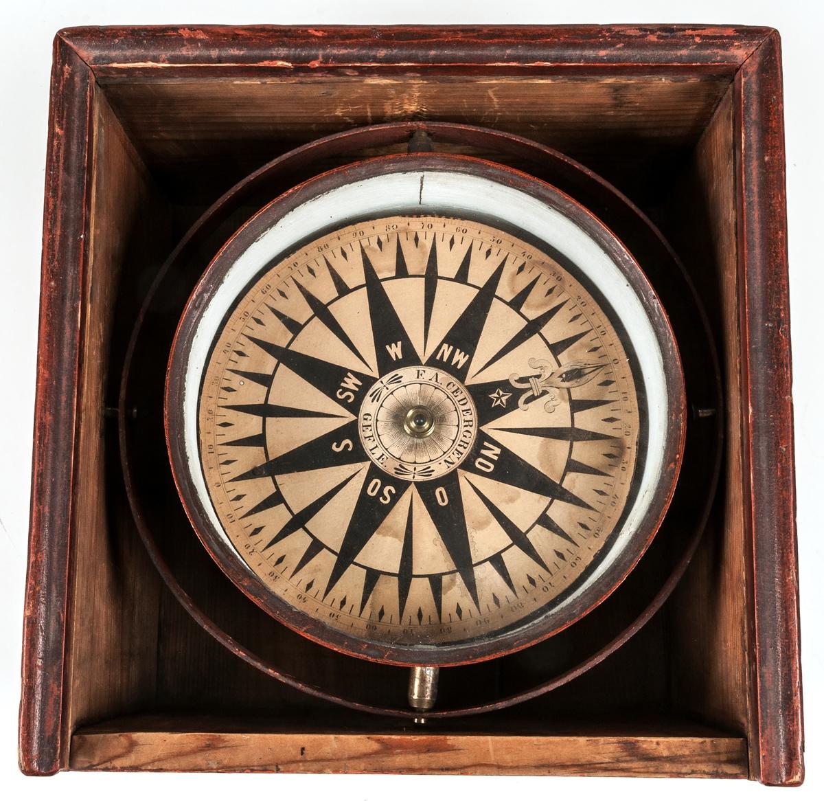 """Kompass, luftkompass, upphängd i rektangulär hållare i bunt trä, lådan med lock. Kommer från galeasen """"Anna"""". Tillverkad av F. A. Cedergren, Gävle."""