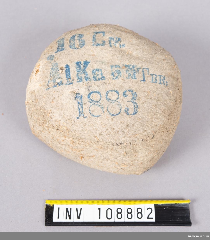 6 mm TBr 1883, för 16 cm pjäs. Stridsladdning, 1 kg.